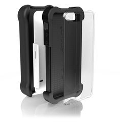 Ballistic iPhone SE Tough Jacket MAXX Case with Holster Belt Clip and Screen Protector also fits Apple iPhone 5s, and iPhone 5 - White, Black. Reinforced soft silicone corners provide 7 ft. high impact drop protection - Meets Military Specifications. Case includes a replaceable holster belt clip and a replaceable screen protector (use case with or without screen protector and/or holster belt clip). Raised lips and corners provide protection from surface shock and scratches. Case includes...