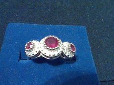 RUBY  3 STONE ENGAGEMENT WEDDING RING SZ 7 + FREE EARRINGS + FREE PENDANT #EXCEPTIONALBUY #SolitairewithAccents