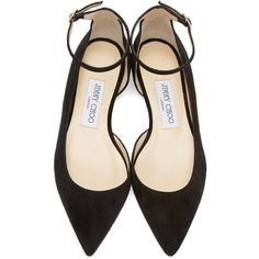 Jimmy Choo Black Suede Lucy Ballerina Flat found on Polyvore featuring shoes, flats, black pointy toe flats, ankle strap flats, black flats, ballerina flats y ballet shoes