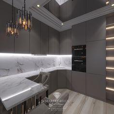 A sleek two-room apartment in Saint Petersburg – Maria Green – Interior Designer Luxury Interior, Interior Design, Residential Complex, One Bedroom Apartment, Design Projects, Kitchen Design, House Design, Apartments, Kitchens