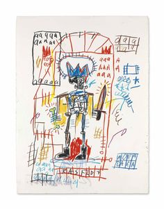 Jean-Michel Basquiat , oilstick and wax crayon on paper (76.2 x 55.9 cm.) drawn in 1982