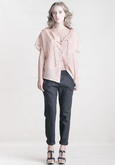 lovely delicate blouse. I don't know about that color though. $152