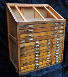Setzkastenschrank Schubladenschrank Vintage shabby von VintageLetterpress auf DaWanda.com