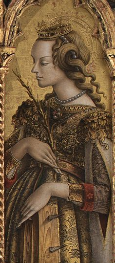 Polyptych by Carlo and Vittore Crivelli: Saint Catherine of Alexandria, Monte San Martino - Marche, Italy.
