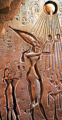 *KING AKHENATEN & his wife NEFERTITI:  praying to the sun-god Aten who provided his rays to the king and the queen