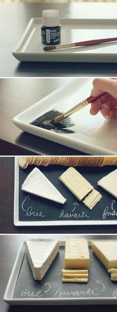 Most serving trays are pretty plain and boring, but if you wish, you can turn them into beautiful decorative items.