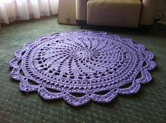 Handmade Crochet Rug - Colour: Crocus - 1m diameter - custom made to order