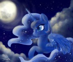 #1442016 - alicorn, artist:dressella, cute, darkness, female, flying, horn, mare, moon, moonlight, night, pony, princess, princess luna, safe, sky, smiling, solo, stars, wings - Derpibooru - My Little Pony: Friendship is Magic Imageboard