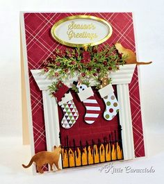 Memory Box Cheerful Stockings Christmas fireplace card by Kittie Christmas Cards To Make, Noel Christmas, Xmas Cards, Handmade Christmas, Holiday Cards, Christmas Stockings, Christmas Crafts, Memory Box Cards, Winter Karten