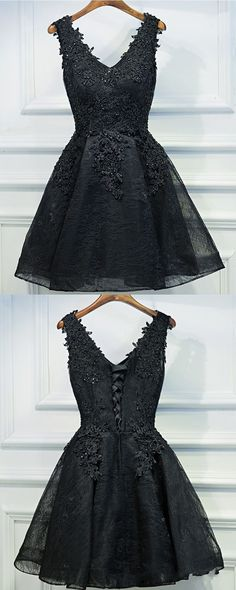 homecoming dresses, black homecoming dresses, chic cute lace-up homecoming dresses with appliques