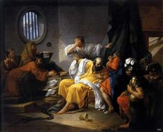 The death of Socrates. 1762. Jacques Philip Joseph de Saint Quentin. French. 1738-1780. oil on canvas.