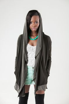 Part hoodie, part sweater, part scarf.  Made from organic cotton, soft hemp and recycled plastic.