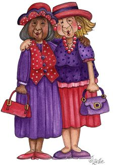 Senior Moments - Jeanette - Picasa Web Albums - red and purple! Red Hat Ladies, Red Hat Society, Art Impressions, Pink Hat, Red Hats, Red Purple, Friends Forever, Retro, Cartoon Characters