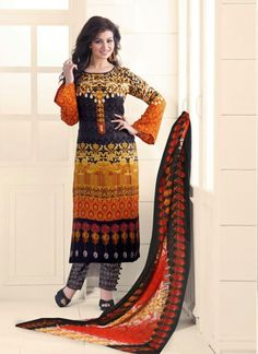 You are sure to make a strong fashion statement with this Ayesha Takia multi colour cotton   designer straight salwar suit. The print work personifies the entire appearance. Comes with matching bottom...