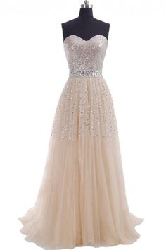 Dressywe Stunning Sweetheart Backless Sequins Beaded Prom Dresses Sash Nude Tulle Floor Length Crystal Evening Gowns
