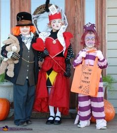 Mad Hatter, Queen of Hearts and Cheshire Cat - Homemade Costumes for Kids