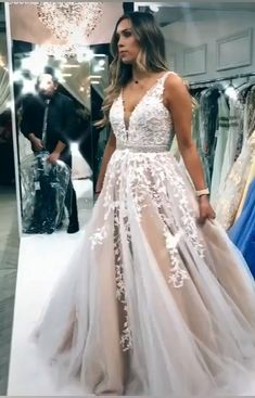 Classic A-line ivory wedding dress with white lace appliques, v front and back cut and beaded band. Ivory Prom Dresses, Prom Dresses 2018, Long Wedding Dresses, Bridal Dresses, Formal Dresses, Mixed Families, Party Clothes, Classic Wedding Dress, Ballroom Dress