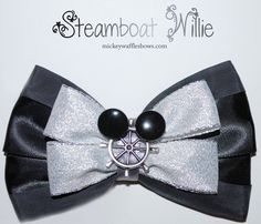 Mickey Waffles Bows - Steamboat Willie [[MORE]] Steamboat Willie - $9. Medium bow (4 inches) comes with your choice of clip! Buy through the Mickey Waffles Bows shop on Etsy by clicking here!