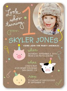 Little Party Animals 5x7 Stationery Card by Blonde Designs. Another year older. Another year of fun. Invite all the guests with this stylish first birthday invitation. Just add your favorite photos and all the event details.