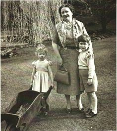 The Queen Mum with her oldest grandchildren Charles and Anne.