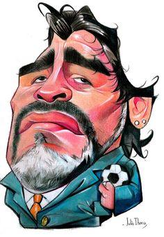 """CARICATURAS DE FAMOSOS: """"Diego Armando Maradona"""" por Julio Ibarra"""