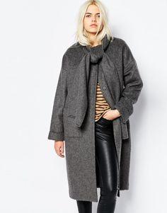 Σκούρο γκρι cocoon coat με δέσιμο στο λαιμό