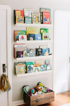 Book ledges in a kids room