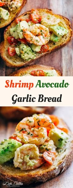 Shrimp Avocado Garlic Bread - the perfect recipe for an appetiser, a fancy snack, or even part of your lunch menu!