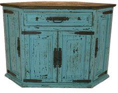 Santa Fe Antique Turquoise Rustic Corner TV Stand