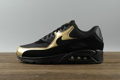 Nike Air Max 90 Essential Black Black Metalic Gold Men's Running Shoes 537384 058