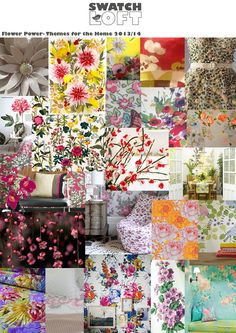 Flower Power - Trends for the Home 2013/14  Staying with the botanical theme but adding bursts of colour, fresh bright florals are key to this up coming trend. Blooming florals brimming with colour, detail and bursts of vibrancy make this trend move away from washes of colours and leaning toward more defined florals.  Researched and put together by Kirsty Norris and Sinead Lewis at Swatch Loft