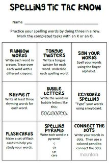 word work choice- could make a bingo version since we have more choices
