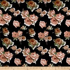 Liverpool Knit Roses Mauve on Black Textile Printing, Double Knitting, Lightweight Jacket, Knitted Fabric, Mauve, Liverpool, Whimsical, Floral Wreath, Backgrounds