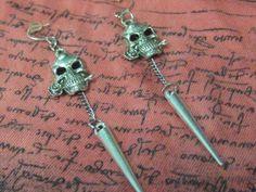 Skull and Chain Earrings Skull and Rose Earrings by SpoiledRockN, $10.00