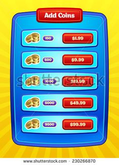 Game UI. Interface design. Virtual currency Bank. Vector eps 10.
