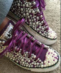 e8d357ef863  Custom bling converse all star chuck taylor sneakers embellished with high  quality rhinestones and pearls. Perfect for weddings shoes