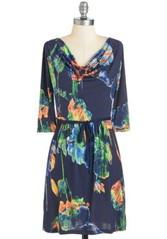 That's Floral She Wrote Dress. Flaunt your novel sense of style in this flowery frock! #blue #modcloth