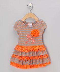 Nannette Orange Stripe Dress - Infant on zulily
