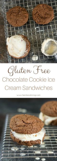 If you love chocolate, these gluten free chocolate cookie ice cream sandwiches are for you. Easy gluten free chocolate cookie recipe, and then pair with your favorite ice cream flavors! via @fearlessdining