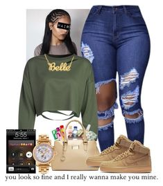 """""""12/13/16"""" by royal-t-1 ❤ liked on Polyvore featuring WithChic, NIKE and Versace"""