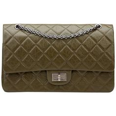 2014 Chanel Olive Aged Calfskin 2.55 Reissue 227 Double Flap Bag (190 BRL) ❤ liked on Polyvore featuring bags, handbags, shoulder bags, olive green purse, chanel, chanel purse, chanel shoulder bag and chanel handbags