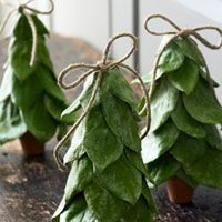 "Lemon Leaf Christmas Tree Craft -- Makes me think that maybe you could cut different Christmas cards into ""leaves"" and create an ornament or lovely scrapbook item."