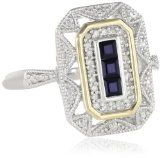 S Sterling Silver and 14k Yellow Gold Blue Sapphire and Diamond-Accent Art Deco Style Ring (0.12 cttw, I-J Color, I3 Clarity)