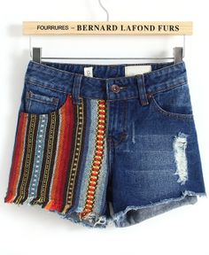 Blue Tribal Print Ripped Denim Shorts