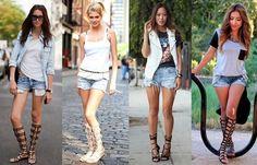 Leia aqui!: http://imaginariodamulher.com.br/look/?go=2jx38p7 Como Usar Sandália Gladiadora com Saltao. Inspire-se e Encontre com Desconto!