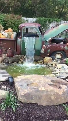 An old truck now used as a garden waterfall. via /r/woahdude ift…. An old truck now used as a garden waterfall. via /r/woahdude Ponds Backyard, Backyard Landscaping, Landscaping Ideas, Outdoor Projects, Garden Projects, Garden Waterfall, Water Features In The Garden, Garden Features, Garden Fountains