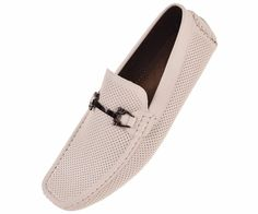 Amali Mens Perforated Driving Moccasin Loafer Smooth in White Style Nolan-007 #Amali #Loafer