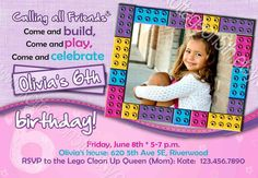 Build A Birthday - Lego Friends Girl Colors - Any Age - Printable Party Invitation - Personalized Digital Photo Card by kottageon5th.etsy.com - Super cute printable birthday party invitation if your girl likes Legos like mine does!