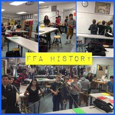 """FFA history """"web"""". Tape dates and events around the room and teams must connect their colored yarn to the correct date & event. Fun educational mess!"""