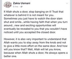 This! When Allah shuts a door, he always opens a better one. Alhamdulillah to the fresh start and for the new beginnings. Ramadhan Mubarak everyone.